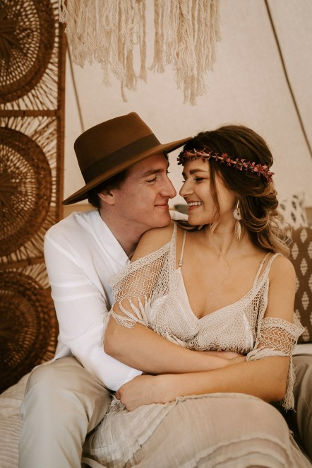 Inspired by the 2019 Wedding Trend 'Vibe Over Palette' this bohemian shoot was set amongst our cosy bell tent, grazing tables, peacock chairs, reclaimed wood dining areas and the dreamiest of bridal suites. Bell tents supplied by www.pitch-boutique.co.uk